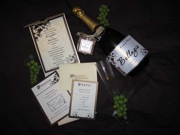 Stationery, Invitations, Reception card, Directions card, Party favor, Customized wine label for table number