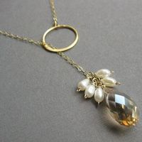 Jewelry, ivory, gold, Necklaces, Bridesmaid, Champagne, Crystal, Necklace, Pearl, Otis b jewelry