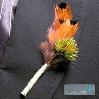 Beauty, Flowers & Decor, Feathers, Flower, Party, Unique, Boutonniere, Feather, Plant, Blue flourish, Interesting, Non-floral, Dried
