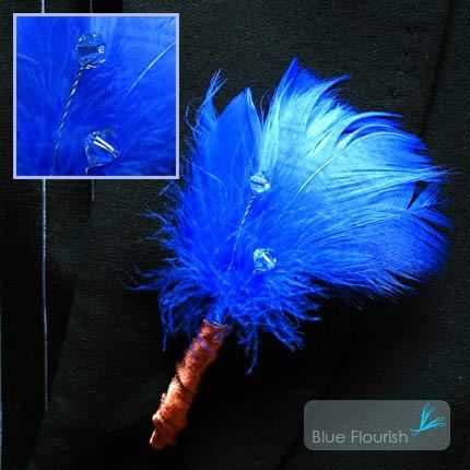 Beauty, Flowers & Decor, Feathers, Flower, Party, Unique, Boutonniere, Swarovski, Feather, Blue flourish, Interesting, Non-floral