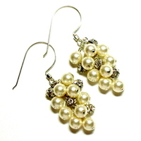 Jewelry, ivory, Earrings, Pearls, Cream, Swarovski, Rhinestones, Sterling silver, Tilleyjewels bride