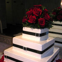 Cakes, red, black, cake, Square Wedding Cakes, Square, Wedding, And, With, Rhinestones, Charonel designs
