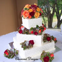 Cakes, orange, red, cake, Square Wedding Cakes, Square, Candles, Wedding, And, With, Charonel designs