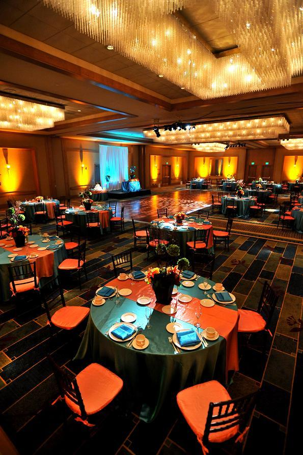 orange, blue, Teal, Ballroom, Chandeliers, Breathtaking