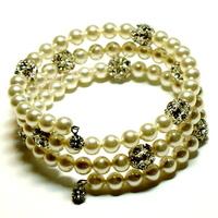 Jewelry, ivory, silver, Bracelets, Wrap, Bracelet, Swarovski, Rhinestone, Pearl, Tilleyjewels bride