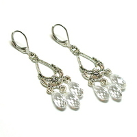 Jewelry, silver, Earrings, Swarovski crystal, Clear, Tilleyjewels bride, Teardrops, Briolettes, Leverbacks