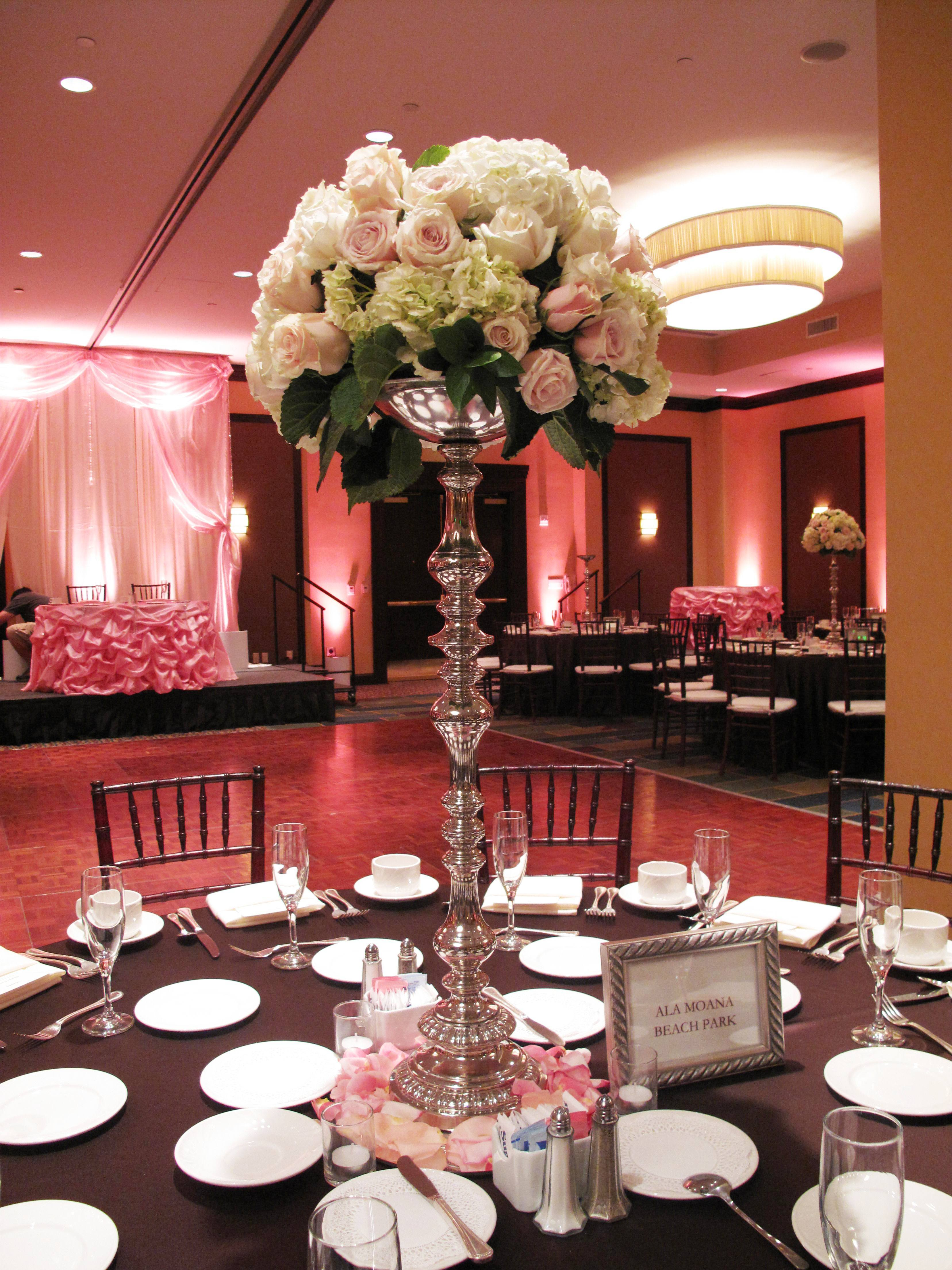 white, ivory, pink, brown, silver, Centerpiece, Sweetheart table, Backdrop