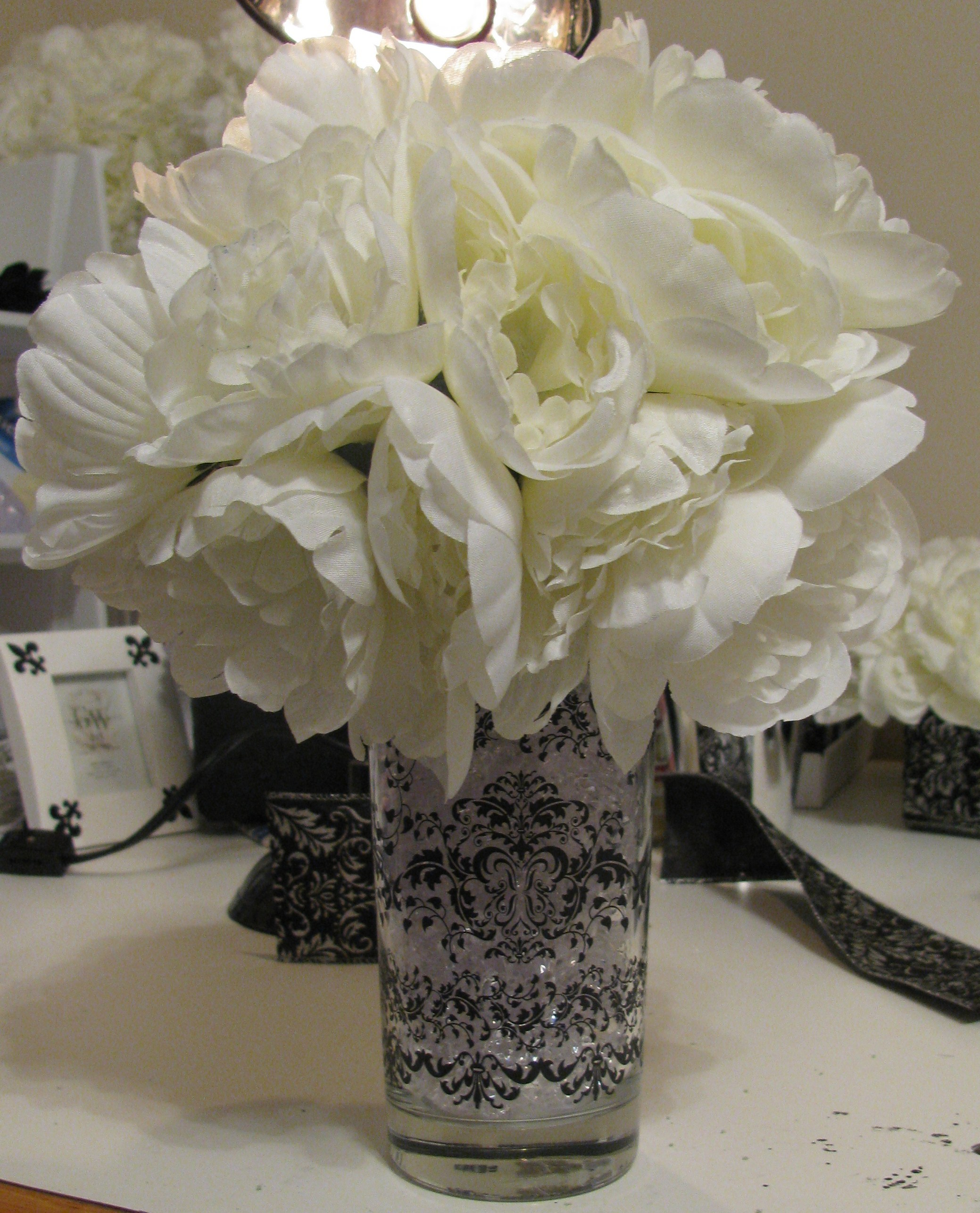 DIY, Flowers & Decor, Decor, black, silver, Centerpieces, Flowers, Centerpiece, Arrangement, Peonies, Damask, Peony