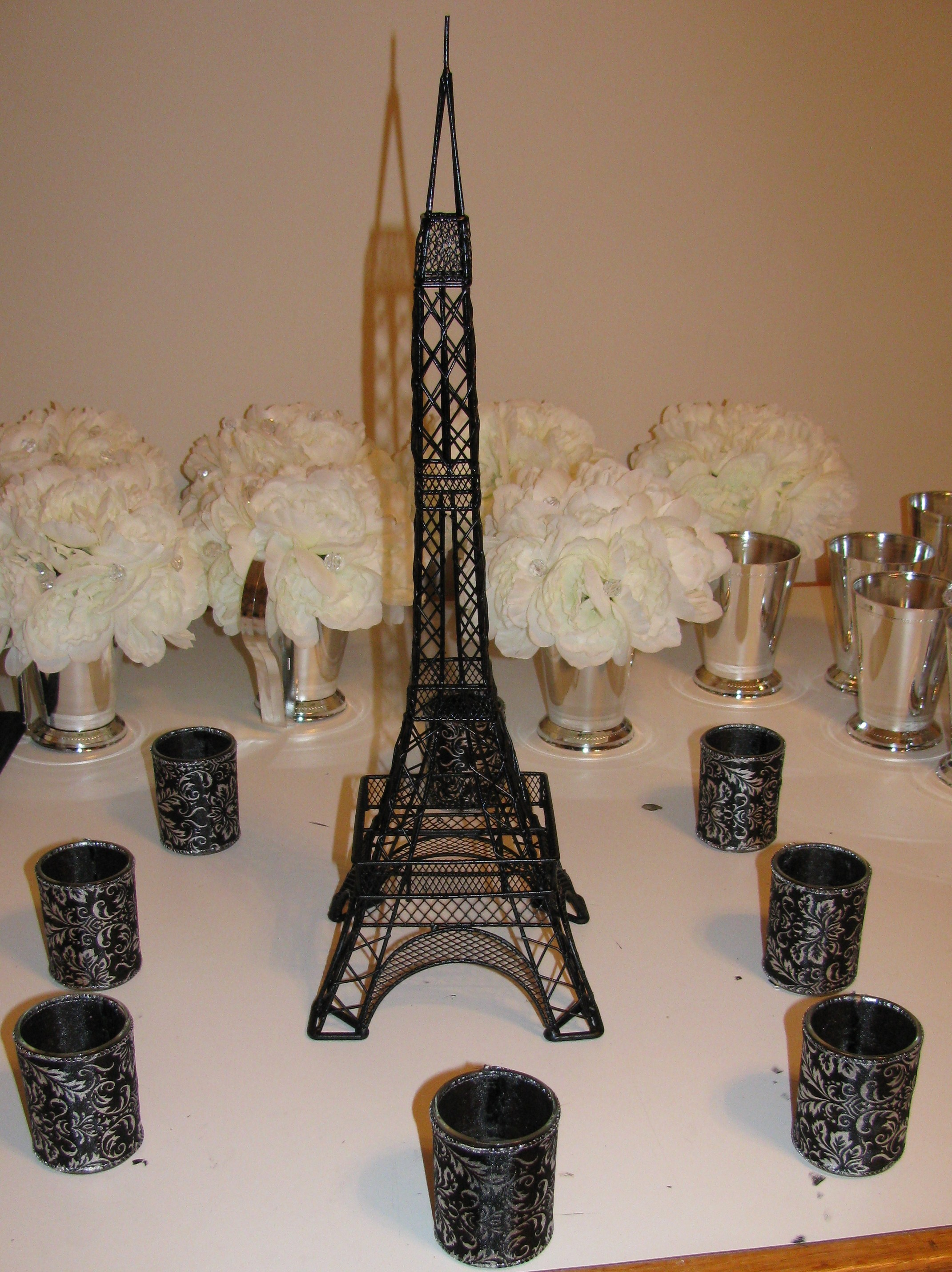 Reception, Flowers & Decor, black, Centerpieces, Centerpiece, Paris, Damask, Tower, Eiffel