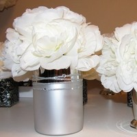 Ceremony, Flowers & Decor, Decor, silver, Ceremony Flowers, Flowers, Peonies, Peony