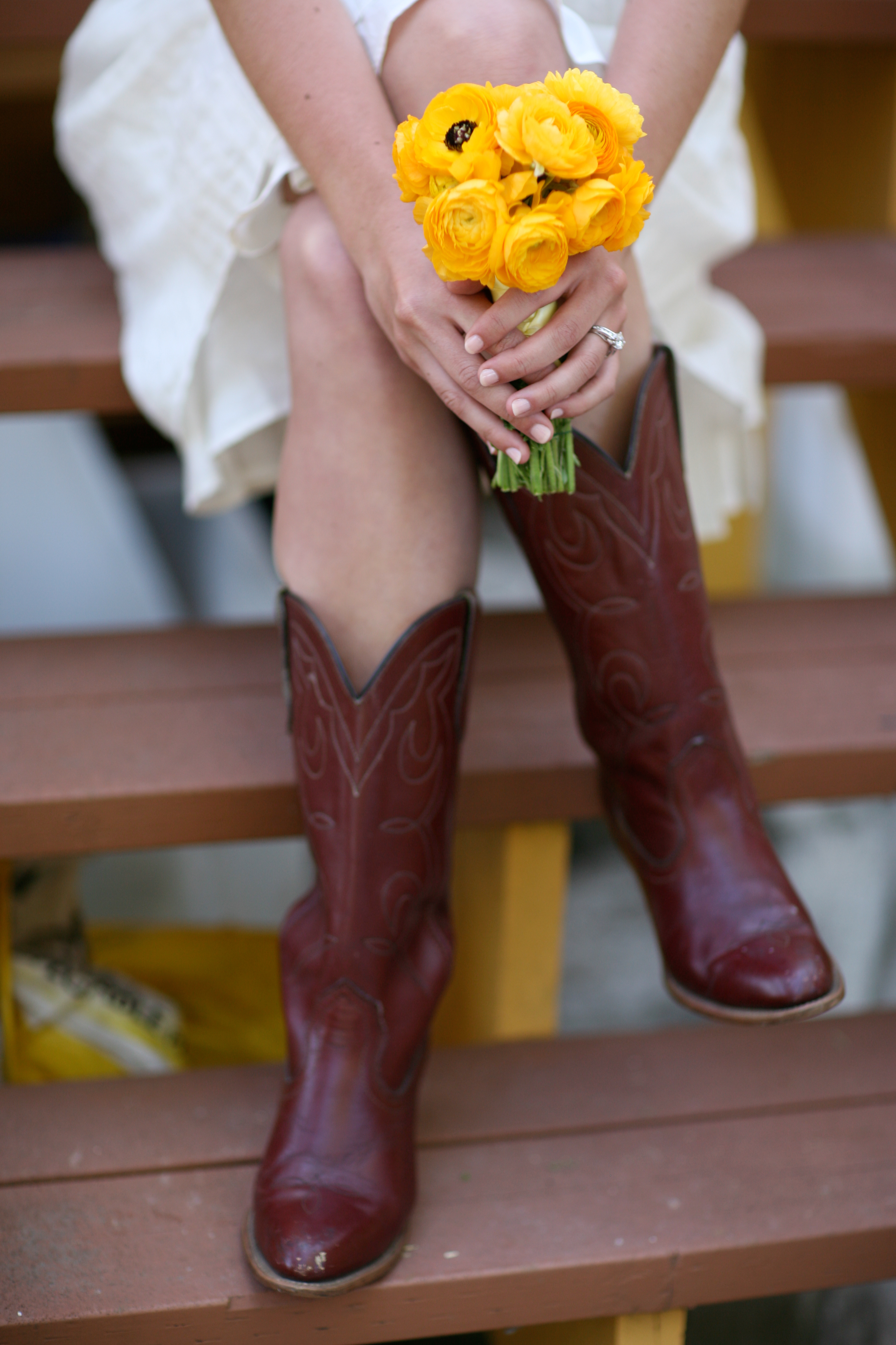 DIY, Flowers & Decor, white, yellow, Bride Bouquets, Garden, Flowers, Garden Wedding Flowers & Decor, Bouquet, Downey street events, Annie mcelwain, Cowboy boots