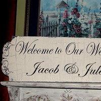 Reception, Flowers & Decor, Cakes, cake, Vintage, Vintage Wedding Cakes, Wedding, Custom, Sign, Cottage, Family attic shoppe, Chippy