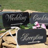 Reception, Flowers & Decor, Decor, Wedding, Outdoors, Cocktails, Signs, Cottage, Family attic shoppe