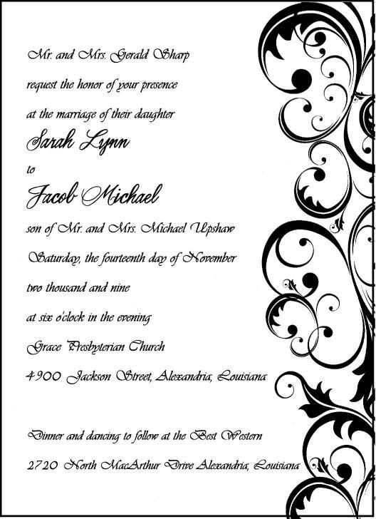 Stationery, white, black, invitation, Invitations, Damask