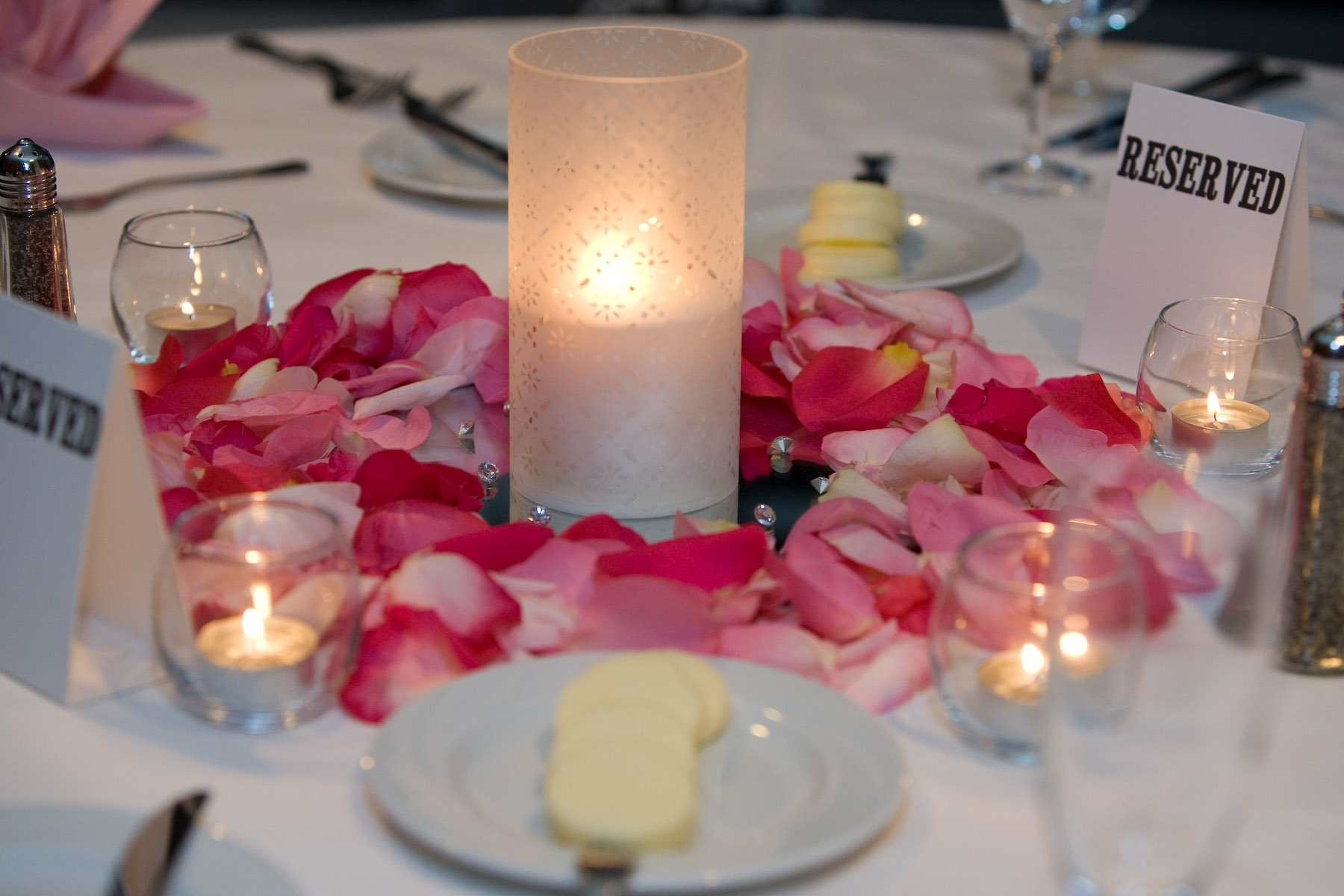 pink, Candles, Centerpiece, Rose petals