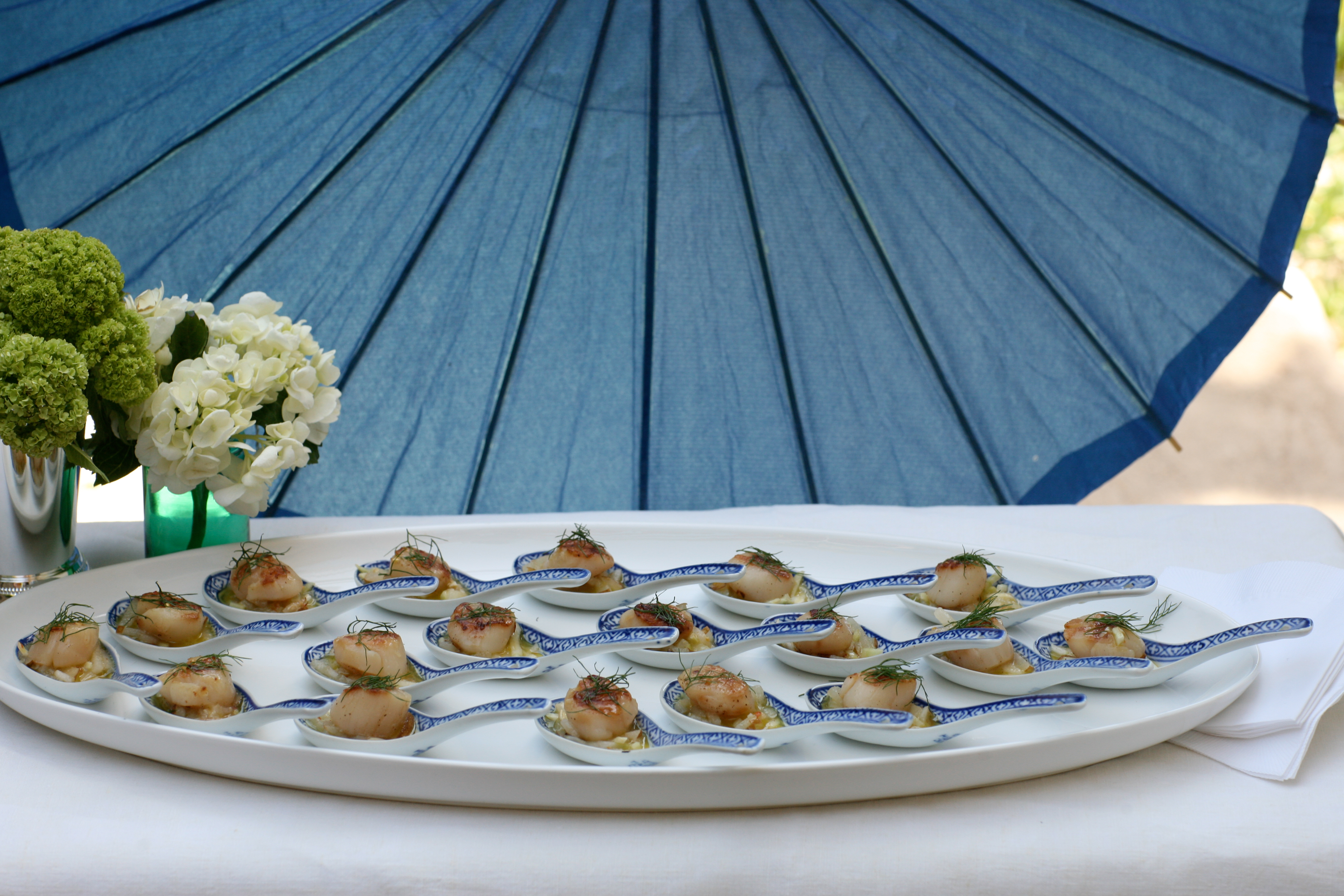 blue, Food, Catering, Parasol, Design, Scallop, Downey street events