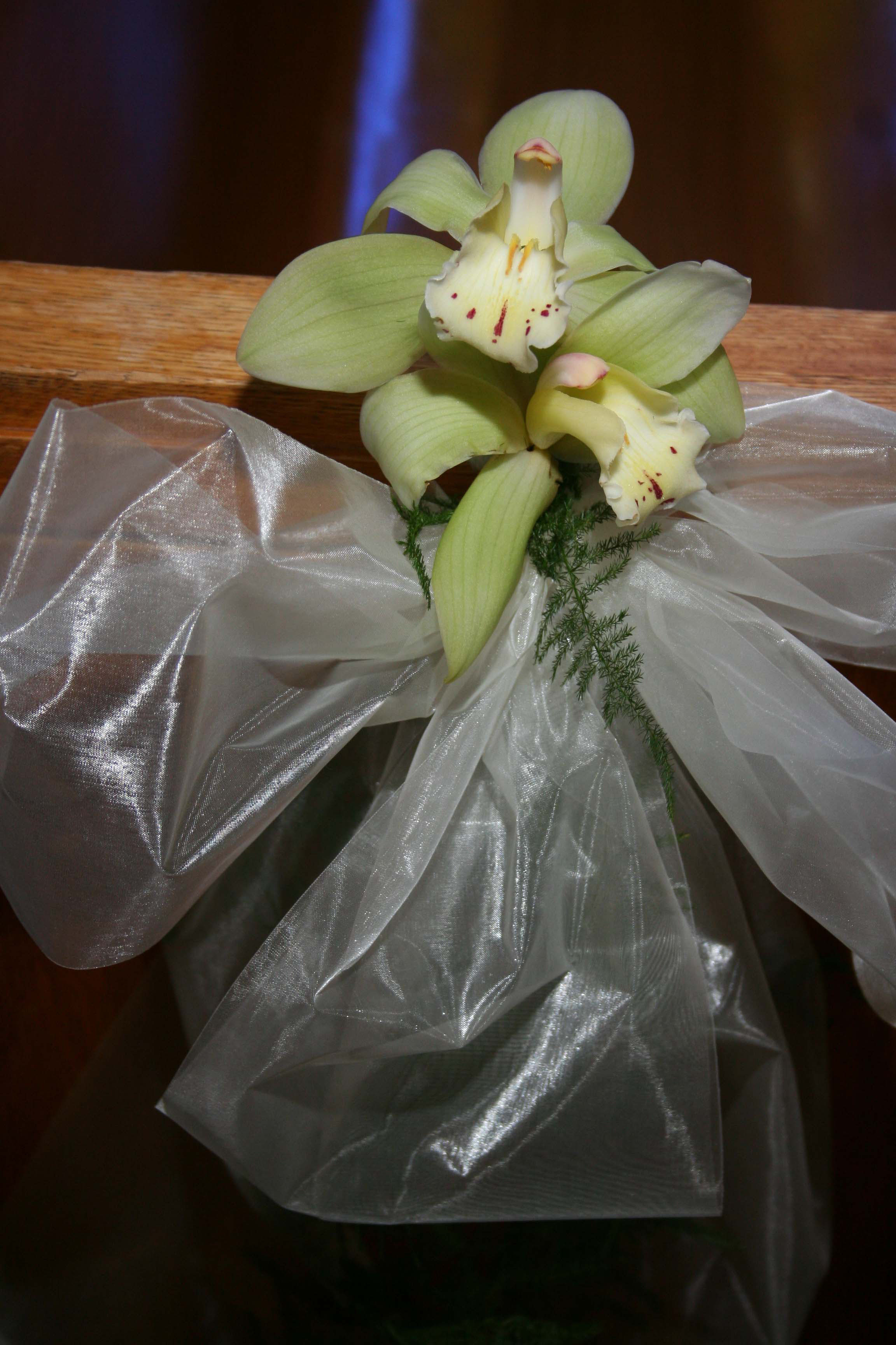 Ceremony, Flowers & Decor, Decor, green, Ceremony Decor, Orchid, Cymbidium orchid, An impressive event, Pew end