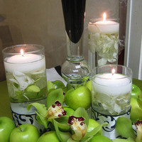 Heavenly blooms, Floating candles, Black and white damask, Green cymbidium orchids, Green apples