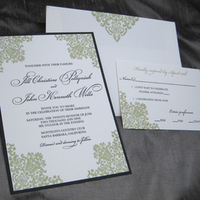 Stationery, black, invitation, Modern, Modern Wedding Invitations, Invitations, Wedding, Letterpress, Damask, Sage, Blush paperie