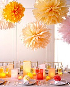 DIY, Reception, Flowers & Decor, pink, Peach, Decorations, Martha, Stewart, Pom, Poms