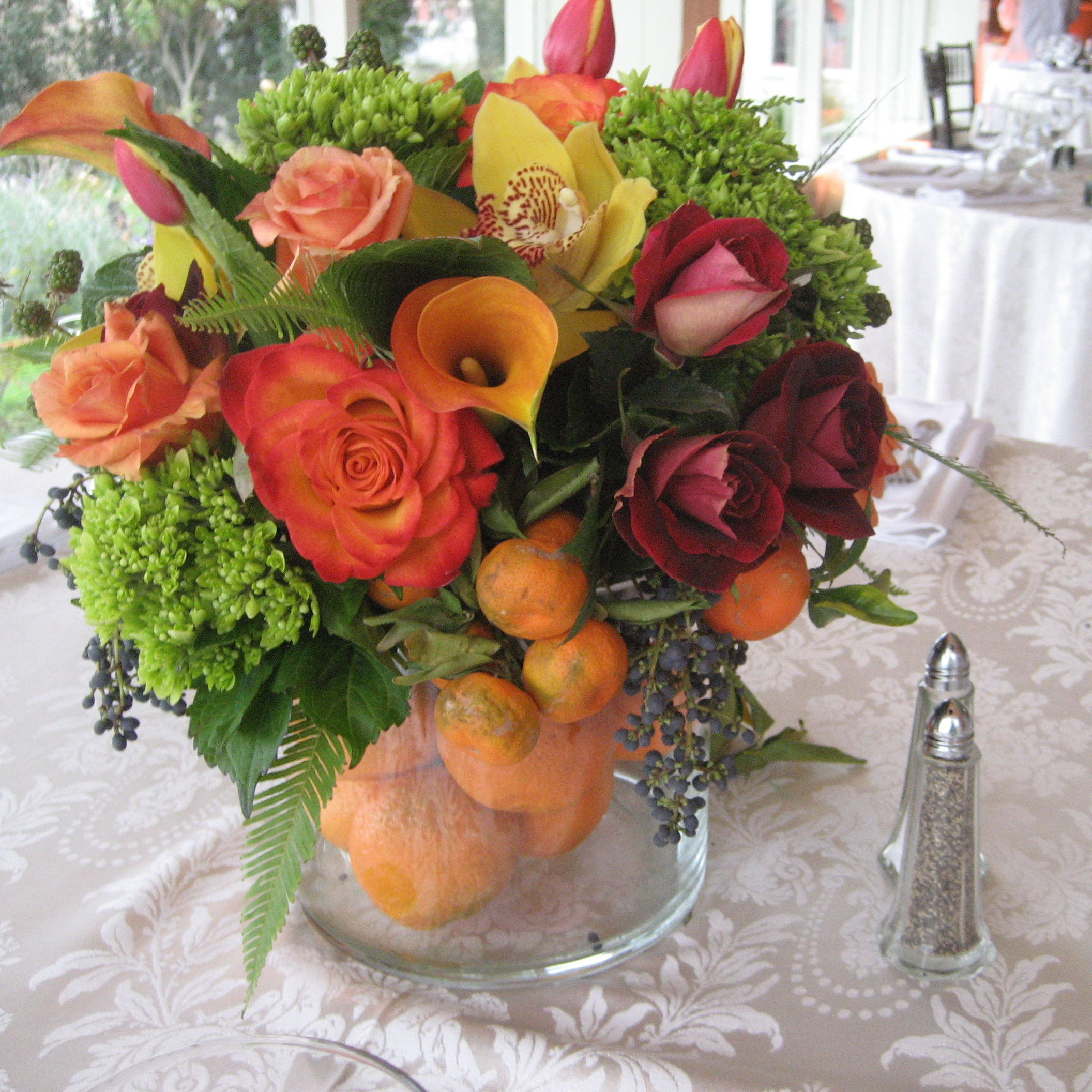 orange, Centerpiece, Citrus, Church street flowers