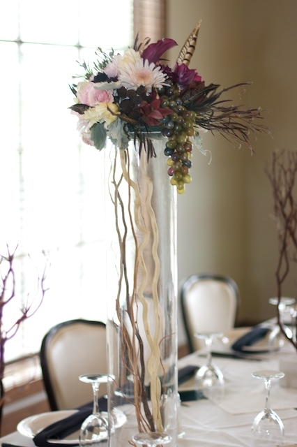 Beauty, Flowers & Decor, purple, black, Feathers, Flowers, Tall, Grapes, Dark, Centerpeice, Feather, Moda floral event design, Pheasant