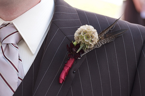 Beauty, Feathers, Chocolate, Boutonniere, Cosmos, Feather, Moda floral event design, Pheasant, Scabiosa, Pod