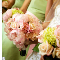 pink, green, Bouquet