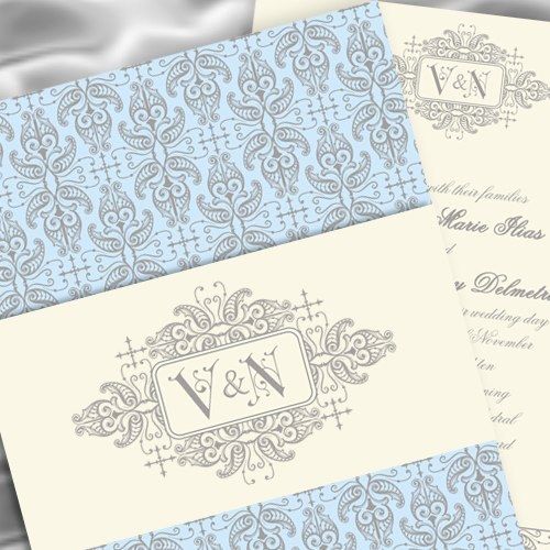 Stationery, blue, gray, invitation, Vintage, Vintage Wedding Invitations, Invitations, Wedding, Light, Pattern, Southall eden