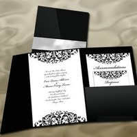 Stationery, white, black, invitation, Invitations, And, Elegant, Pocket, Damask, Southall eden