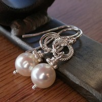 Jewelry, silver, Earrings, Bride, Bridesmaid, Pearl, K garner designs, Sterling