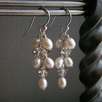 Jewelry, silver, Earrings, Bride, Bridesmaid, Crystal, Swarovski, Pearl, K garner designs, Dangle