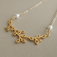 Jewelry, gold, Necklaces, Bride, Bridesmaid, Vine, Branch, Necklace, Pearl, K garner designs, Filigree, Pendant, Chain, Vermeil