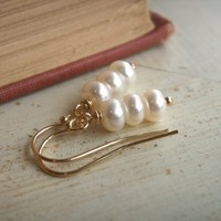Jewelry, gold, Earrings, Bride, Gift, Bridesmaid, Pearls, Pearl, Budget, K garner designs