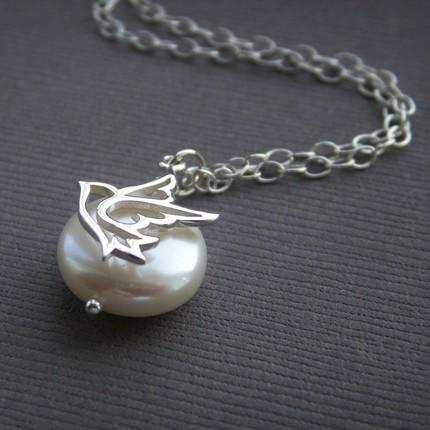 Jewelry, Necklaces, Bride, Bridesmaid, Necklace, Pearl, Charm, K garner designs, Peace, Pendant, Coin, Dove
