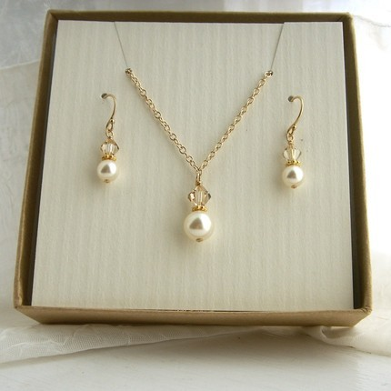 Jewelry, gold, Necklaces, Earrings, Bride, Bridesmaid, Crystal, Necklace, Swarovski, Set, Pearl, K garner designs, Filled