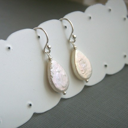 Jewelry, silver, Earrings, Bride, Bridesmaid, Teardrop, Pearl, Sterling