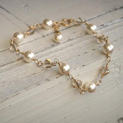 Jewelry, gold, Bracelets, Pearls, Crystal, Bracelet, Swarovski, K garner designs