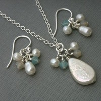 Jewelry, silver, Necklaces, Earrings, Bride, Bridesmaid, Crystal, Necklace, Swarovski, Set, Pearl, K garner designs, Sterling