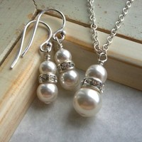 Jewelry, Necklaces, Earrings, Bride, Bridesmaid, Pearls, Crystal, Necklace, Swarovski, Set, Rhinestone, K garner designs, Pendant