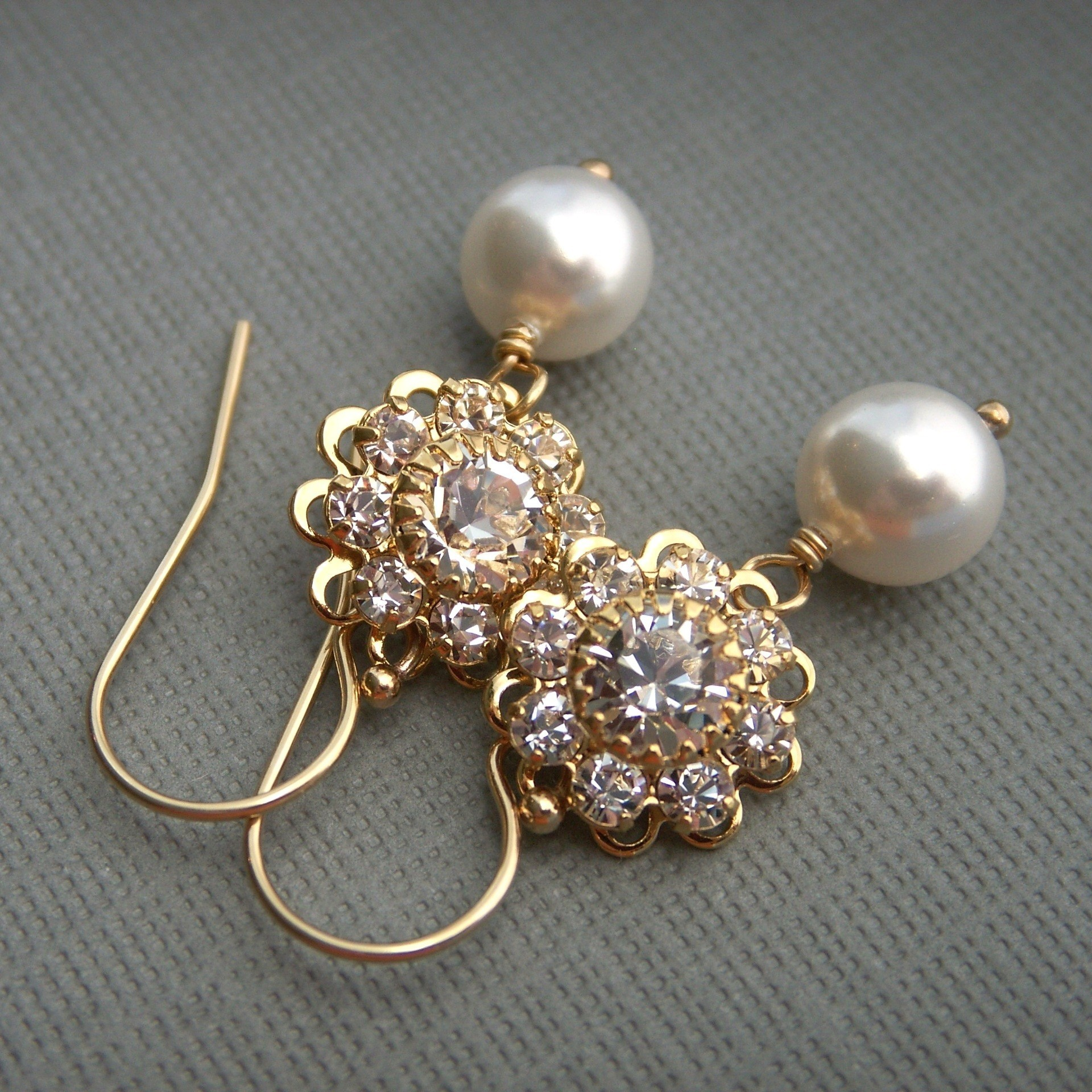 Jewelry, gold, Earrings, Bride, Bridesmaid, Crystal, Swarovski, Rhinestone, Pearl, K garner designs