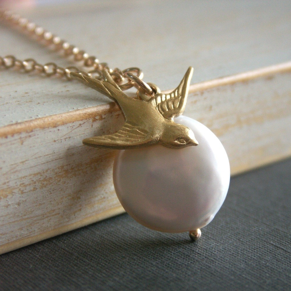 Jewelry, gold, Necklaces, Bride, Bridesmaid, Bird, Necklace, Pearl, Charm, K garner designs, Coin, Brass