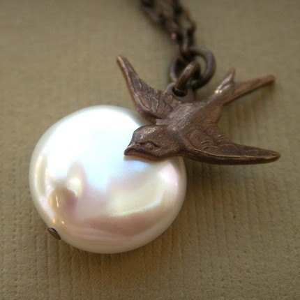 Jewelry, Necklaces, Bride, Bridesmaid, Bird, Necklace, Pearl, Charm, K garner designs, Pendant, Coin, Brass, Antiqued, Vintaj, Swallow, Sparrow