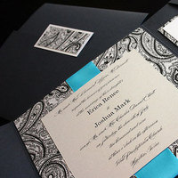 Reception, Flowers & Decor, Stationery, Paper, invitation, Invitations, Monogram, Map, Custom, Ornate, Design, Pocket, Pattern, Houston, Response, Metallic, Shimmer, Invitation solutions