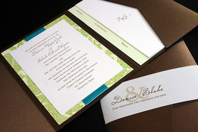Reception, Flowers & Decor, Stationery, Paper, invitation, Invitations, Monogram, Map, Custom, Ornate, Design, Pocket, Pattern, Houston, Response, Metallic, Shimmer