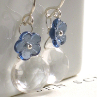 Flowers & Decor, Jewelry, blue, silver, Earrings, Flowers, Something blue, Sterling, Quartz