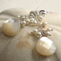 Jewelry, silver, Earrings, Something blue, Pearl, Sterling, Mother of pearl