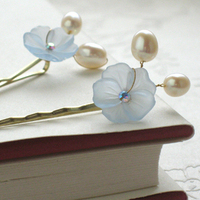Beauty, Flowers & Decor, white, blue, Bride, Flower, Hair, Pearls, Pins, Rhinestone, Bobby