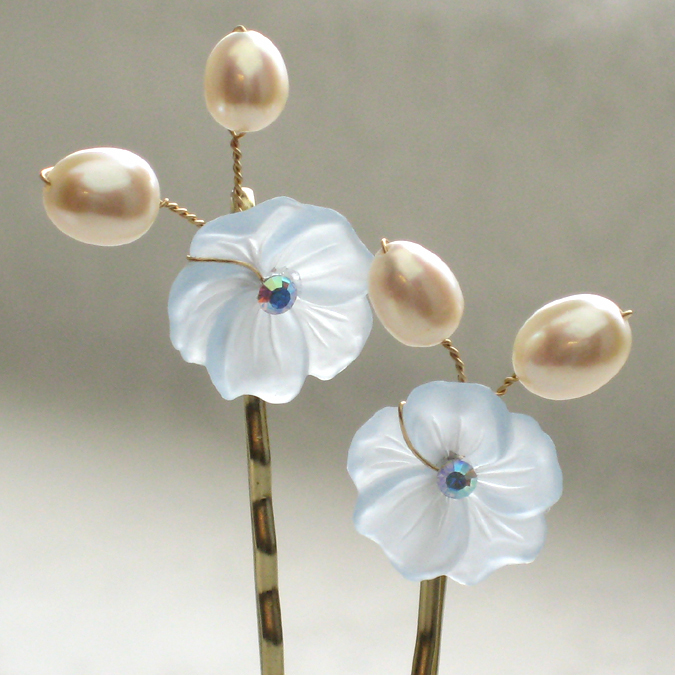 Beauty, Flowers & Decor, Jewelry, blue, Flowers, Hair, Something blue, Accessory, Pins, Rhinestone, Pearl, Bobby