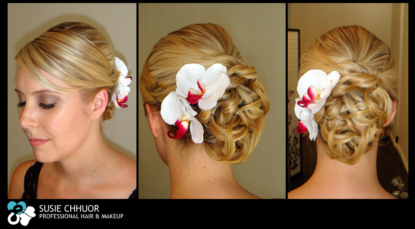 Beauty, Flowers & Decor, Updo, Flowers, Hair, Blonde, Susie chhuor professional hair and makeup team